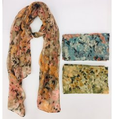 Floral print scarf available with blue, green or oatmeal background colour