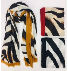 Attractive zebra print scarf with a range of coloured borders - black, gold or red