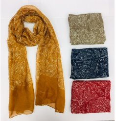 Quintessential batik Paisley scarf available in navy blue, scarlet, mustard yellow, or khaki