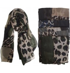 Fashionable patchwork design scarf in leopard print and block colour - available in brown, blue and green