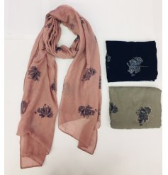 Luxurious silky soft scarf with glitzy leaf embellishments - choice of black, grey or pink