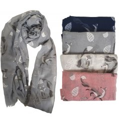 A delightful assortment of Pink, white, Grey and Navy Toned scarves, each complimented by a charming fox and acorn prin