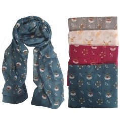 A festive mix of long flowing scarves in a variety of colours