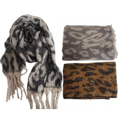 Oversized leopard print wooly texture polyester scarf in 3 colour combinations - black/white, grey/white and brown/black