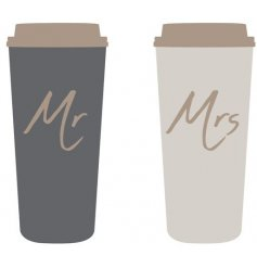 An assortment of 2 stylish travel mugs in Mr & Mrs designs. A great gift item for newly weds.