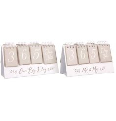 Our Big Day and Mr & Mrs countdown calendars. A chic gift item for newly engaged couples.