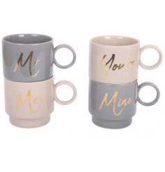 A set of 2 mugs with 'yours' and 'mine' slogans.