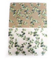 An assortment of easy cleaning placemats, each featuring its own pretty Eucalyptus print