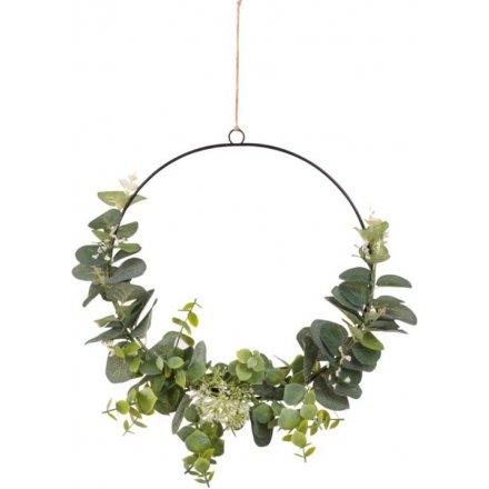 Artificial Eucalyptus Wreath, 26cm