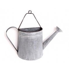 Metal wall planter designed to look like a hanging watering can - small size measures approx 35 x 9 x 27.5 cm