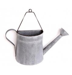 Large metal wall planter styled like a watering can - approx 43 x 10.5 x 33 cm