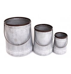 3 piece set of zinc metal bucket planters from the Potting Shed range