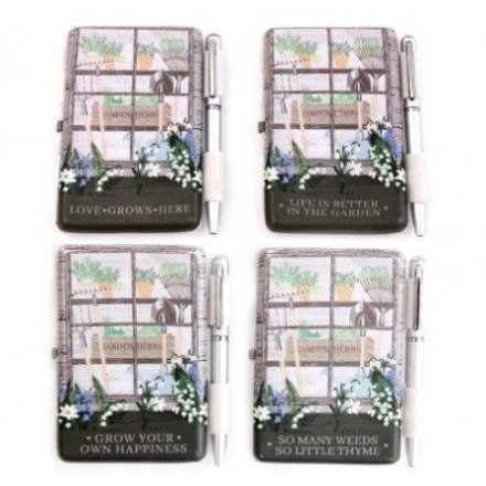 Assortment of 4 designs, practical notebook and pen set  - part of the Love Grows Here giftware range