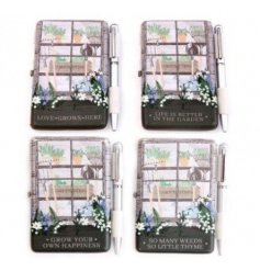 Convenient notepad and pen set in an assortment of 4 designs - part of the Potting Shed giftware range