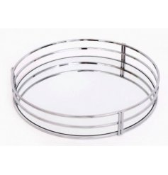 Elegant Art Deco style tray with silver coloured rim measures approx 30 x 5 cm