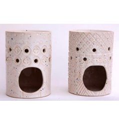 Traditional stoneware oil burner patterned with geometric designs, glazed in off white. Approx 12 x 10 cm