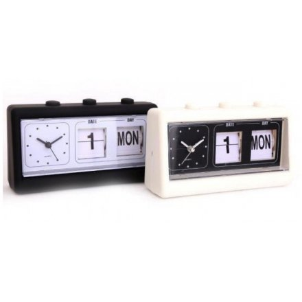 Classic Retro Flip Clock with Time / Date Display 19 cm