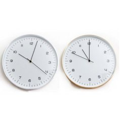 A sleek and stylish assortment of Silver and Gold toned wall clocks