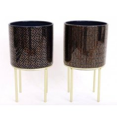 Ceramic plant pot in royal blue or purple with gold geometric embellishment & gold metal legs. Approx 21.5 cm high