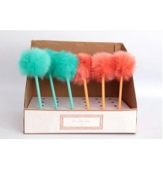 A mix of fuzzy pompom pens, perfect for adding a festival vibe to any writing set
