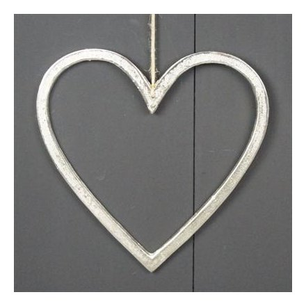 Silver Hanging Heart, 60 cm
