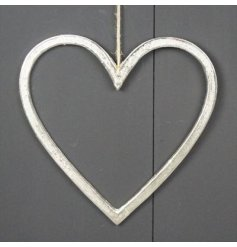 Silver coloured metal open hanging heart, approx 60 cm