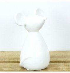 Elegant stylised ceramic mouse ornament glazed in white, measures approx 14 x 10 x 18 cm