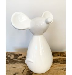 Contemporary white ceramic mouse ornament approx size 14 x 10 x 18 cm