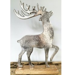 Attractive aluminium reindeer figure on wooden base, medium = approx 38 cm high