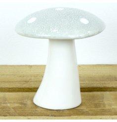 Trendy nordic grey ceramic christmas mushroom, measures approx 10 x 4 x 11 cm tall