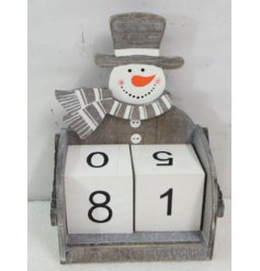 16 cm Wooden block advent calendar with Snowman theme in contemporary nordic grey.