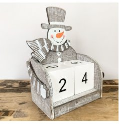 Contemporary Snowman themed wooden block advent calendar in nordic grey. Approx 16 cm tall