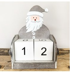 Contemporary Father Christmas themed wooden block advent calendar in nordic grey. Approx 16 cm tall