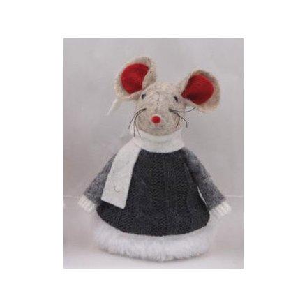 9 cm Festive Felt Mouse Ornament In Knitted Black Dress