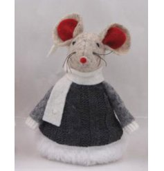 Adorable seasonal style felt mouse, dressed in fur trimmed knitted black dress 9 cm