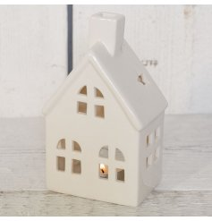 Large porcelain house-shaped tealight holder measures approx 15.7 cm tall