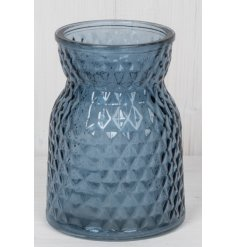 Stylish blue glass posy vase embossed with repeating diamond pattern, measures approx 13 cm tall