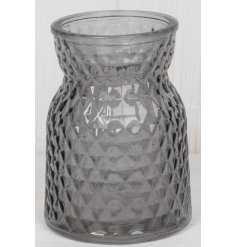 Elegant grey glass posy vase embossed with repeating diamond pattern, measures approx 13 cm tall