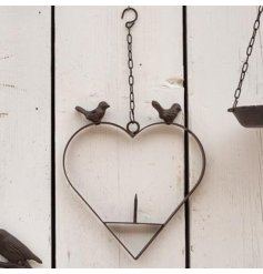Heart shaped bird feeder for scraps, fat balls etc. Made from durable cast iron approx size 25 cm