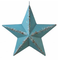 Approx 31 cm metal barn star in blue with distressed effect.