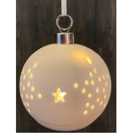 White ceramic Christmas stars bauble with LED internal illuminations  - 8 cm