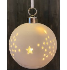 White ceramic Christmas stars bauble with LED internal illuminations  - 8 cm