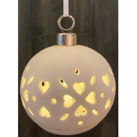 White ceramic Christmas hearts bauble with LED internal illuminations - 8 cm