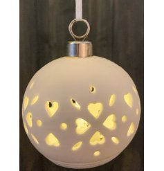 White ceramic Christmas hearts bauble with LED internal illuminations - 8 cm