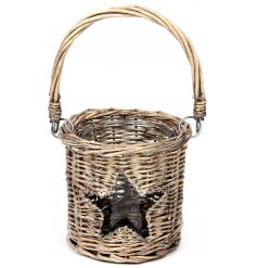 Approx 13 x 11 cm greywashed Christmas star willow basket lantern - smallest size in range