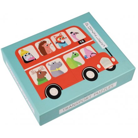A set of 6 colourful transport puzzles with animals. Great for colour and shape recognition