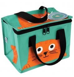 Enjoy lunch on the go with this bold and bright Chester the cat insulated lunch bag.