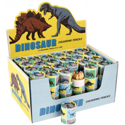 A set of 12 graphite coloured pencils in a cool dinosaur tube.