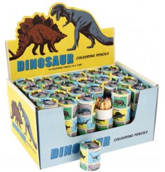 A set of 12 colouring pencils in all your favourite colours. Contained neatly in a retro style prehistoric dinosaur tube