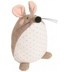 A country living mouse doorstop in natural colours. A shabby chic style interior decoration with plenty of character